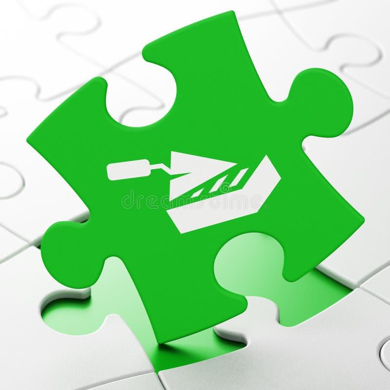 Costruzione del concetto: Muro di mattoni sul fondo di puzzle royalty illustrazione gratis