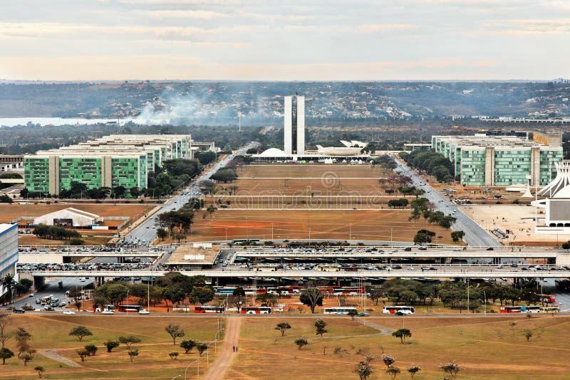 Costruzione del congresso a Brasilia Brasile fotografie stock libere da diritti