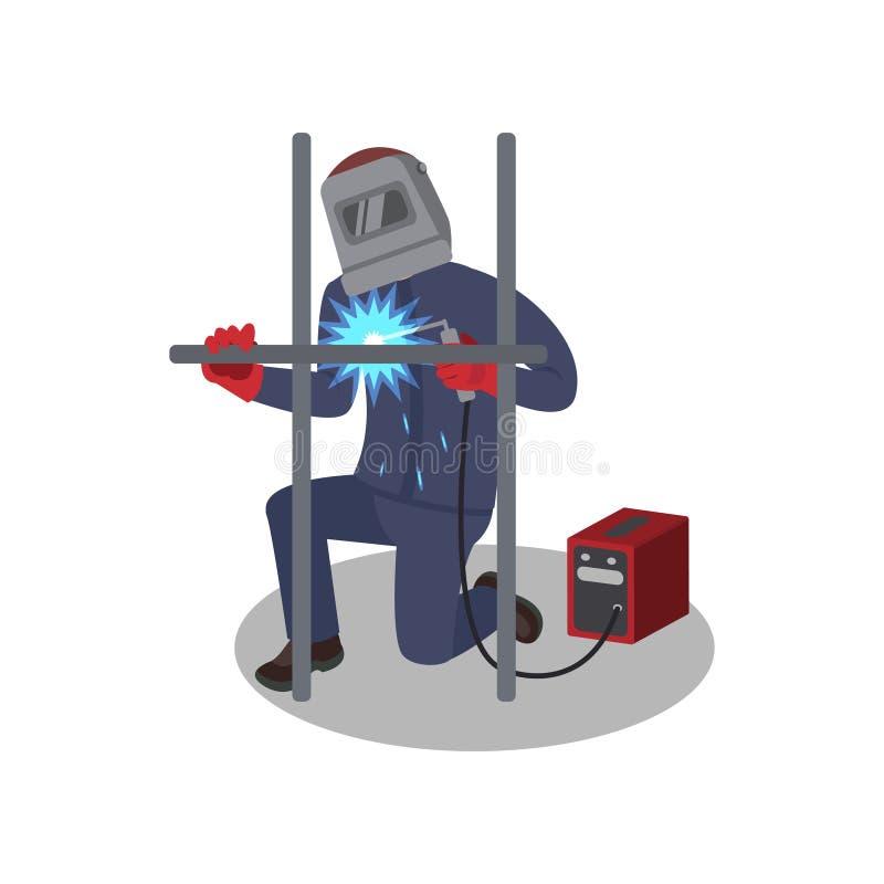 Costruzione del metallo di saldature dell'uomo con la saldatrice Saldatore professionista sul lavoro Lavoratore in attrezzatura p royalty illustrazione gratis