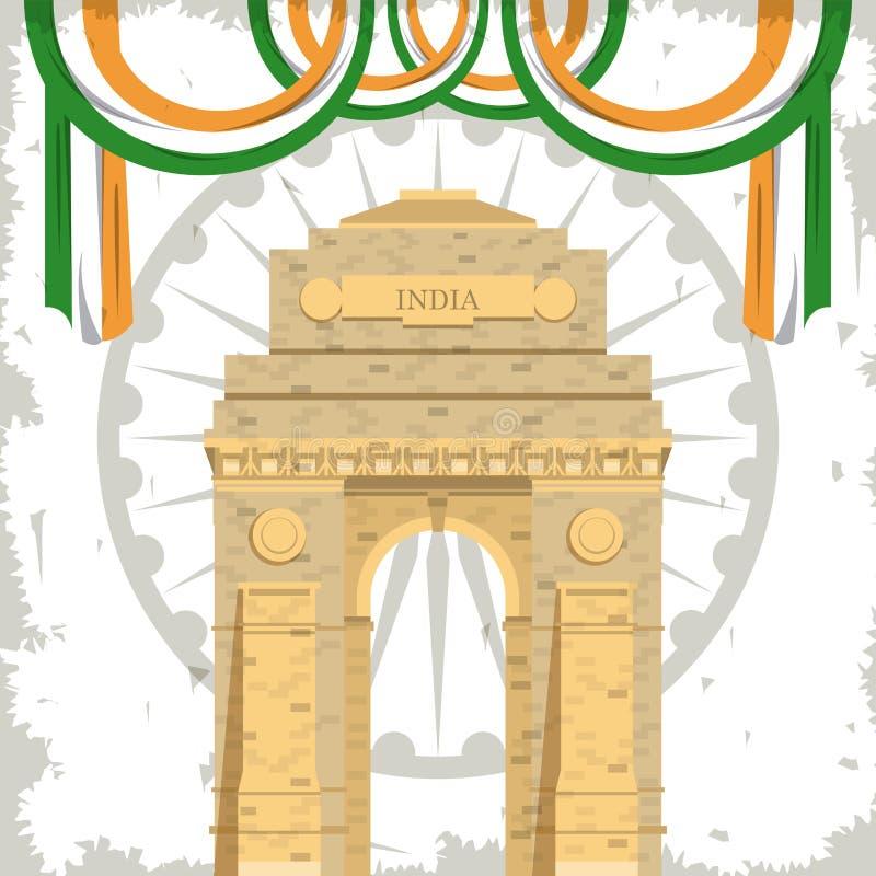 Costruzione del monumento del portone dell'India con le bandiere illustrazione vettoriale