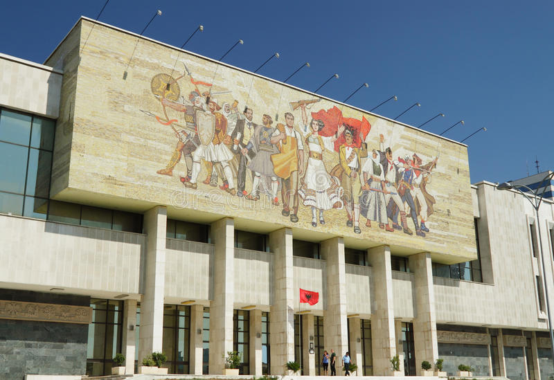 Costruzione del museo nazionale, mosaico, ½ del ¿ di Tiranï, Albania immagini stock libere da diritti