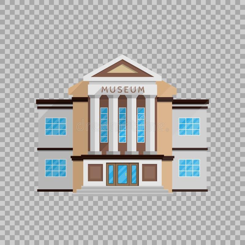 Costruzione del museo nello stile piano sull'illustrazione trasparente di vettore del fondo Architettura classica, culturale illustrazione vettoriale