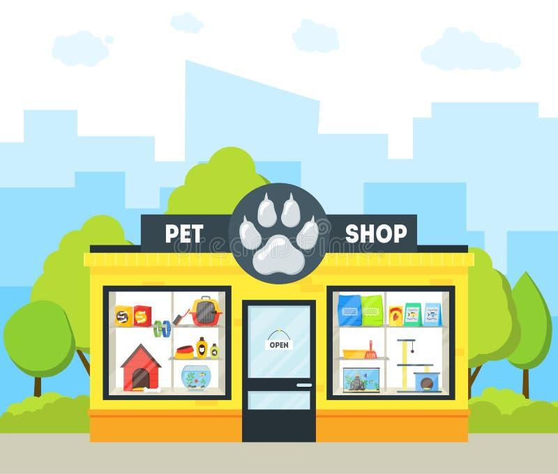 Costruzione del negozio di animali del fumetto Vettore illustrazione di stock