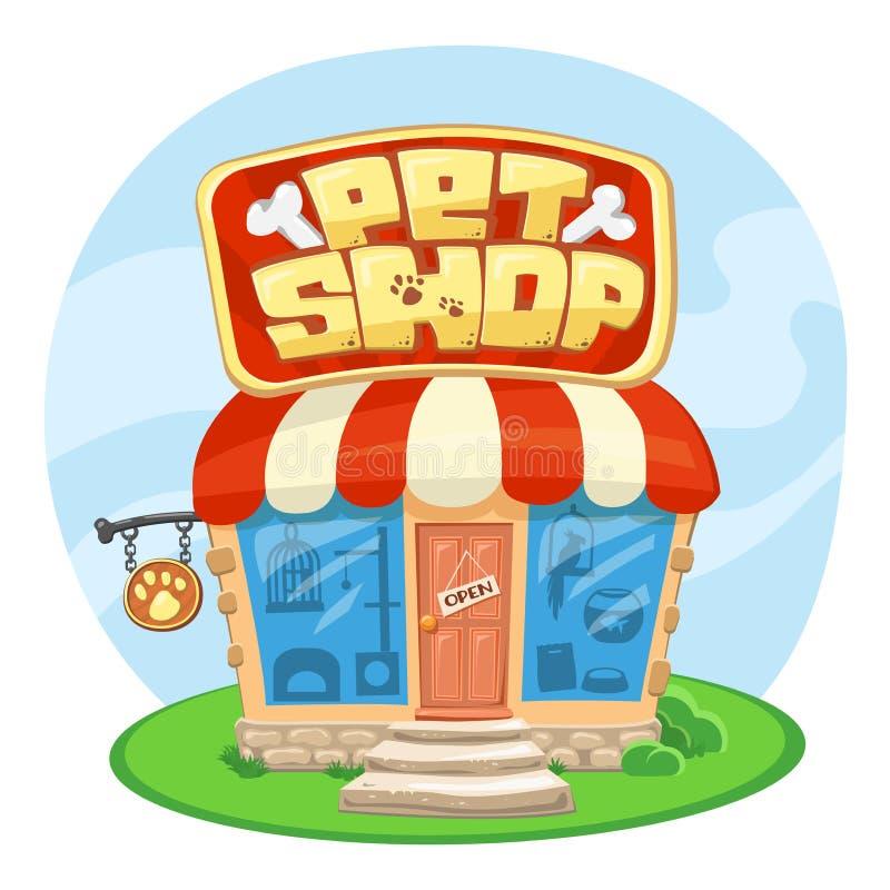 Costruzione del negozio di animali Illustrazione di vettore del fumetto Concetto dell'insegna della via royalty illustrazione gratis