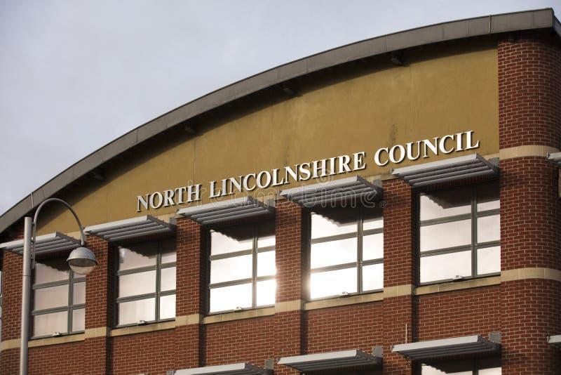 Costruzione del nord del Consiglio di Lincolnshire nel quadrato della chiesa - Scunthorpe, Lincolnshire, Regno Unito - 23 gennaio immagini stock