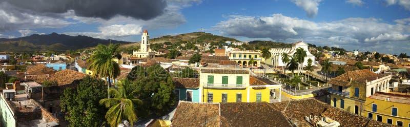 Costruzione del paesaggio di Trinidad Cuba Old Town Wide vecchia di architettura coloniale spagnola panoramica dell'annata fotografia stock libera da diritti