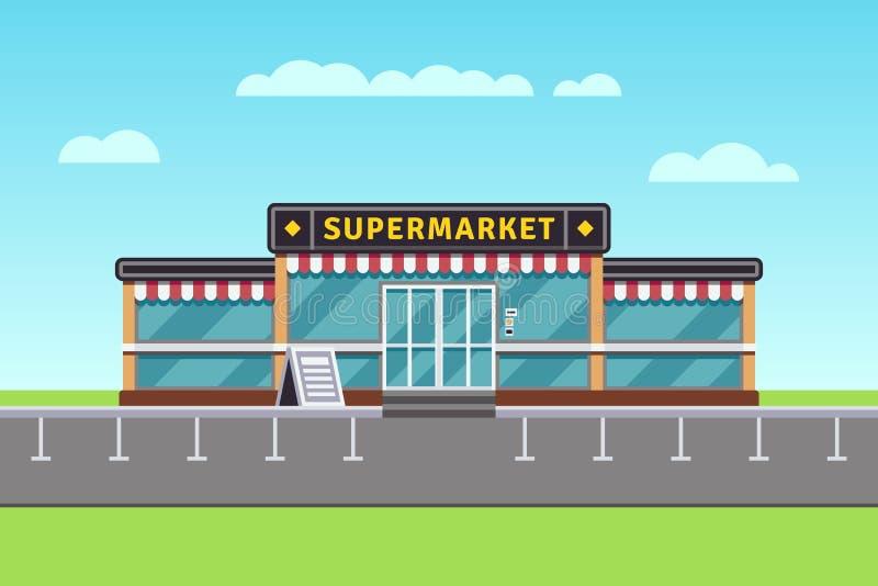 Costruzione del supermercato, mercato di acquisto, illustrazione di vettore del centro commerciale royalty illustrazione gratis