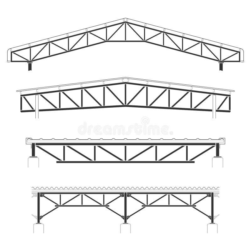 Costruzione del tetto, copertura di struttura d'acciaio, insieme della capriata del tetto, illustrazione di vettore illustrazione vettoriale