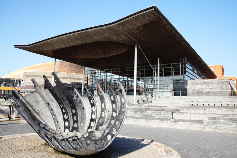 Costruzione dell'assemblea nazionale di Senedd, Cardiff Galles fotografia stock