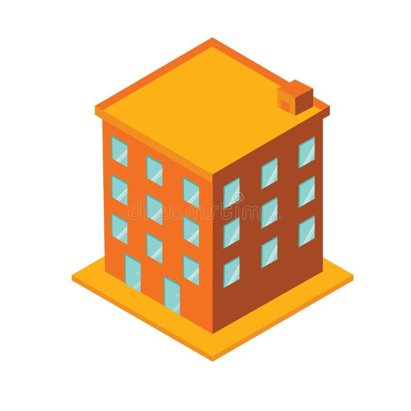Costruzione dell'hotel con stile isometrico fotografie stock