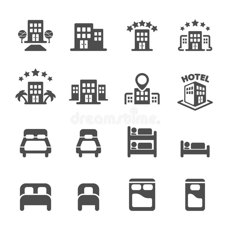Costruzione dell'hotel ed insieme dell'icona della camera da letto, vettore eps10 illustrazione di stock