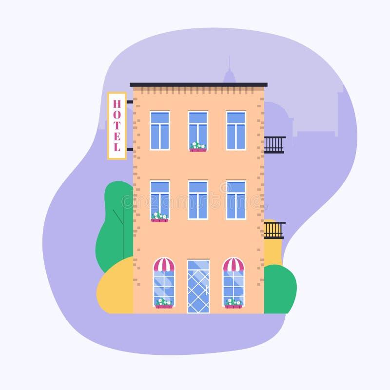 Costruzione dell'hotel Facade Ideale per le pubblicazioni e il gra di web di affari del mercato royalty illustrazione gratis