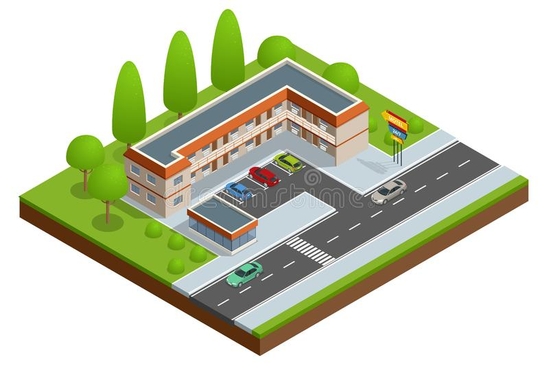 Costruzione dell'hotel o del motel vicino alla strada con le automobili, il parcheggio e l'insegna al neon Icona isometrica di ve illustrazione vettoriale