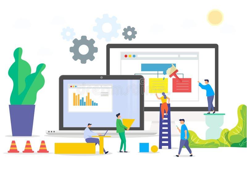 Costruzione dell'illustrazione del sito Web dell'ufficio di affari illustrazione di stock