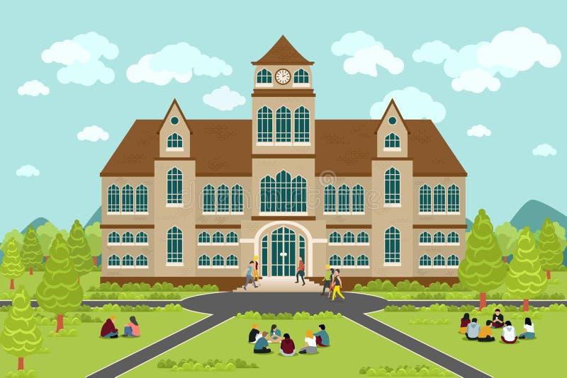 Costruzione dell'istituto universitario o dell'università illustrazione di stock