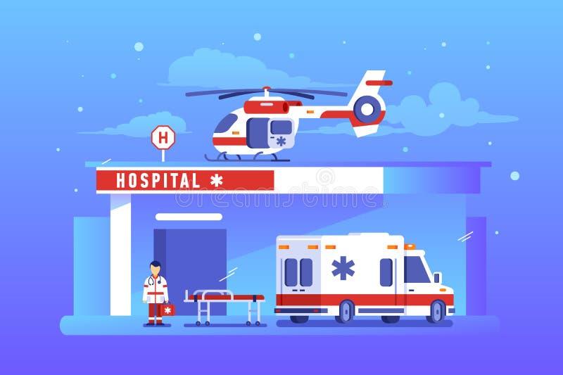 Costruzione dell'ospedale con l'automobile e l'elicottero dell'ambulanza royalty illustrazione gratis