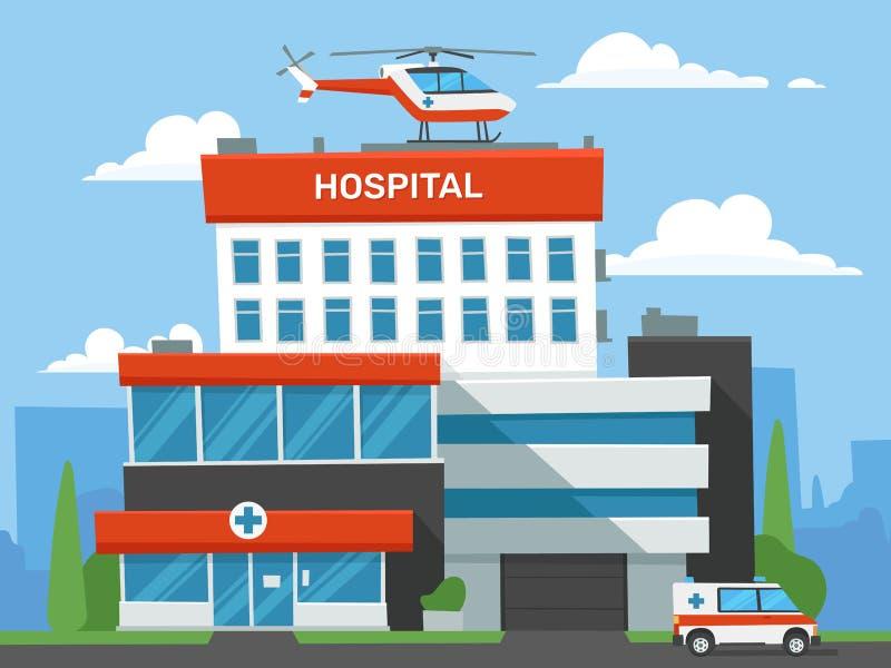 Costruzione dell'ospedale del fumetto Clinica di emergenza, elicottero medico urgente di aiuto ed automobile dell'ambulanza Vetto royalty illustrazione gratis