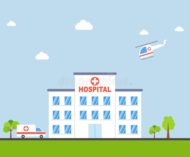 Costruzione dell'ospedale della città con l'ambulanza e l'elicottero nella progettazione piana Vettore della clinica illustrazione di stock