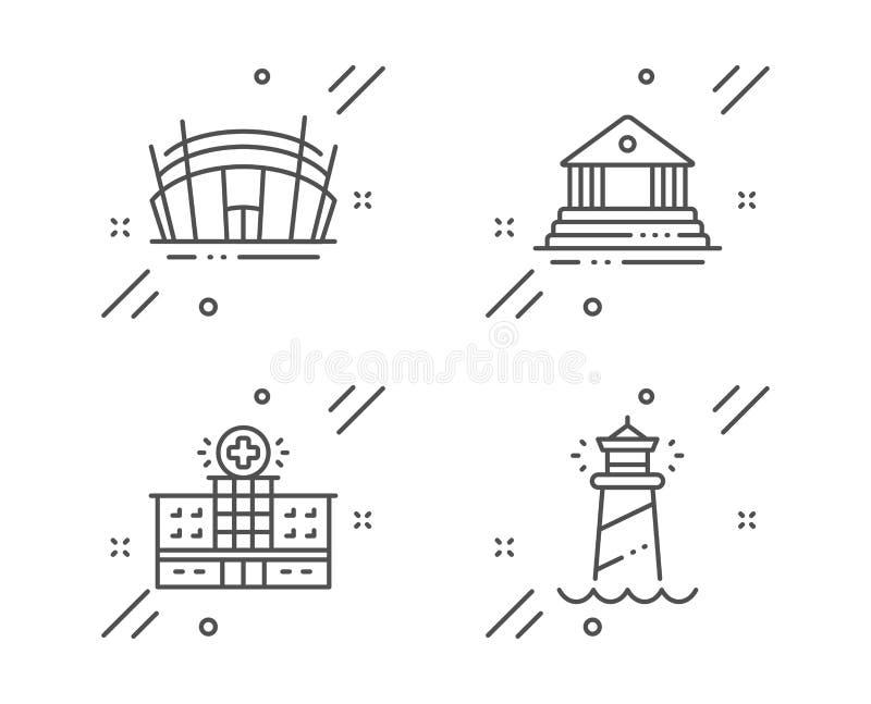Costruzione dell'ospedale, costruzione della corte ed insieme delle icone dello stadio dell'arena Segno del faro Vettore illustrazione vettoriale