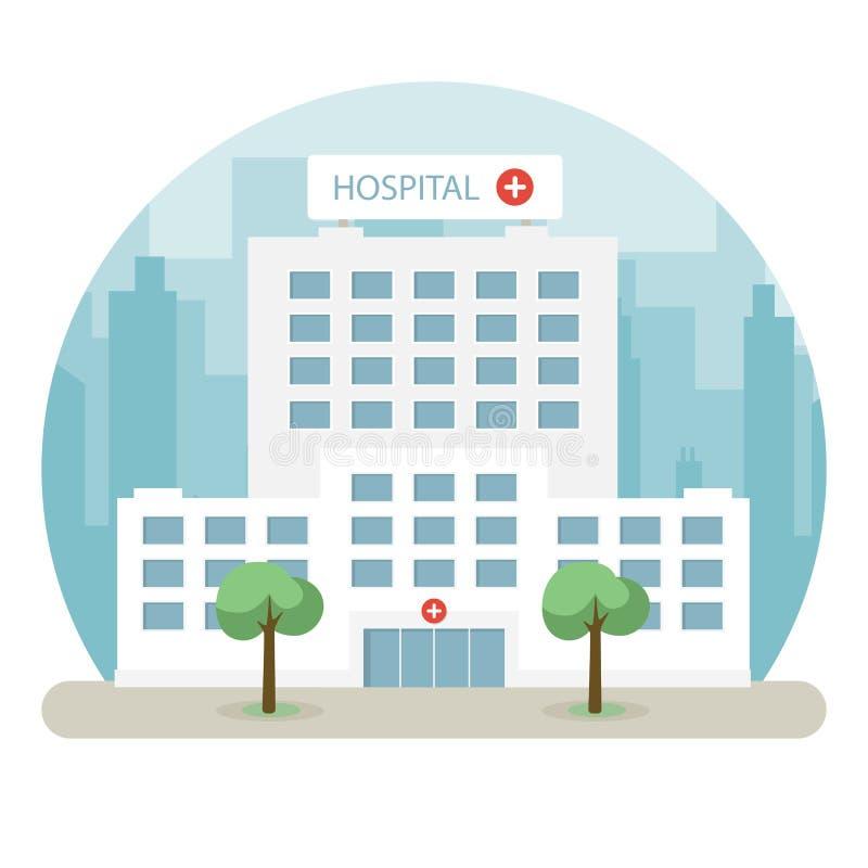 Costruzione dell'ospedale in una grande città Progettazione piana royalty illustrazione gratis