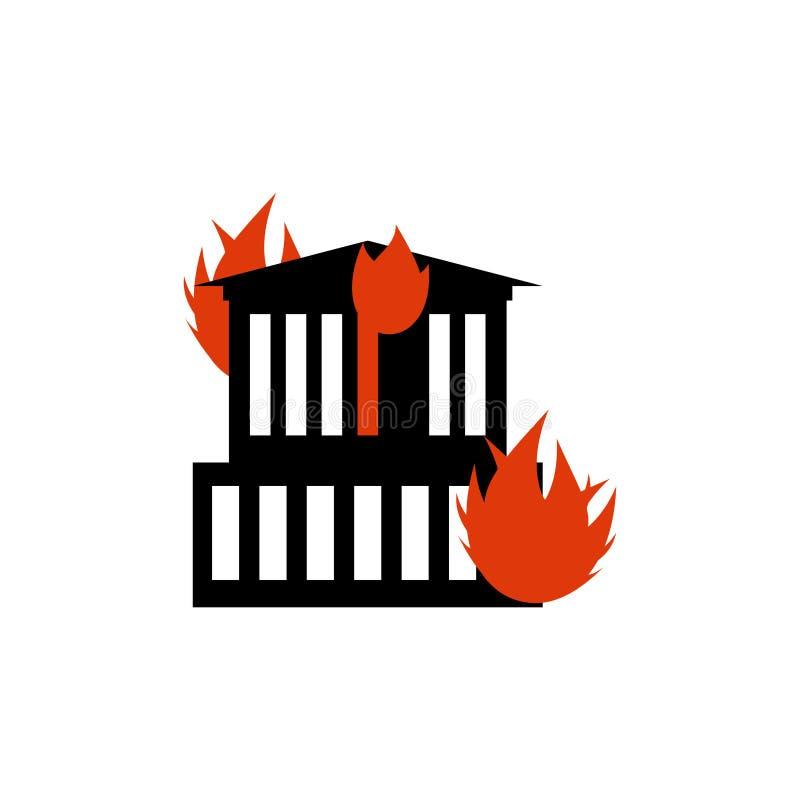 Costruzione dell'ustione Fuoco nella funzione Casa di incendio doloso Fiamme dall'ufficio illustrazione di stock