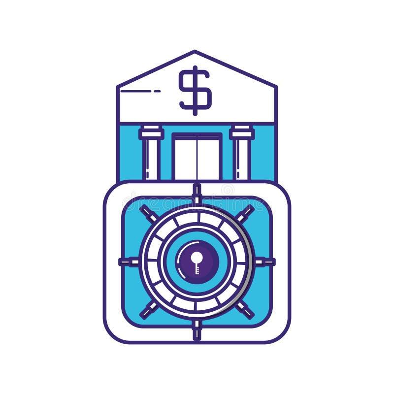 Costruzione della Banca con la scatola sicura illustrazione vettoriale