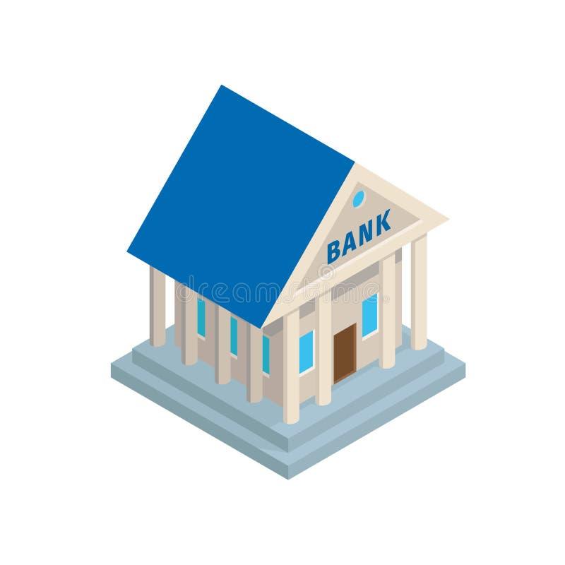 Costruzione della Banca nell'icona isometrica di stile antico illustrazione vettoriale