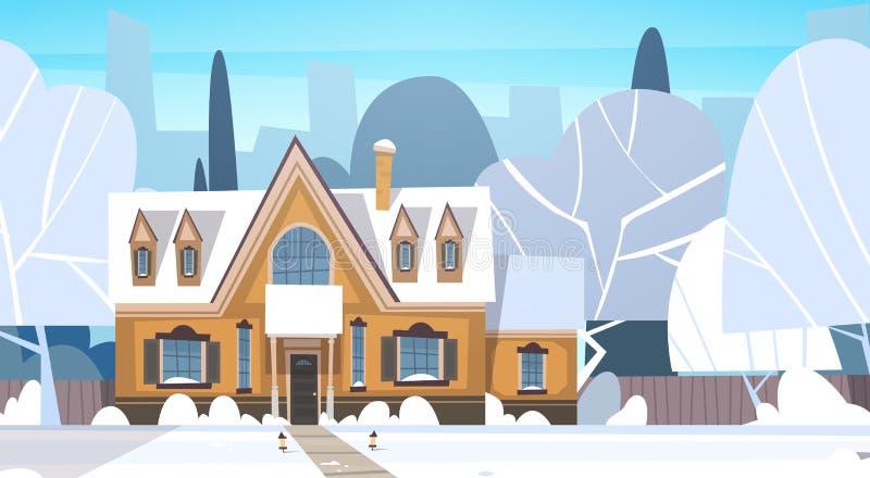 Costruzione della Camera del paesaggio di inverno del villaggio con la neve sulla via superiore del sobborgo della città o della  illustrazione vettoriale