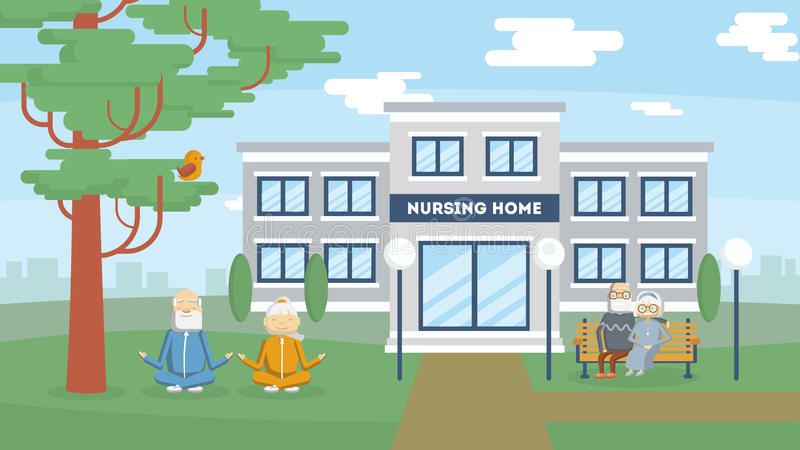 Costruzione della casa di cura illustrazione vettoriale