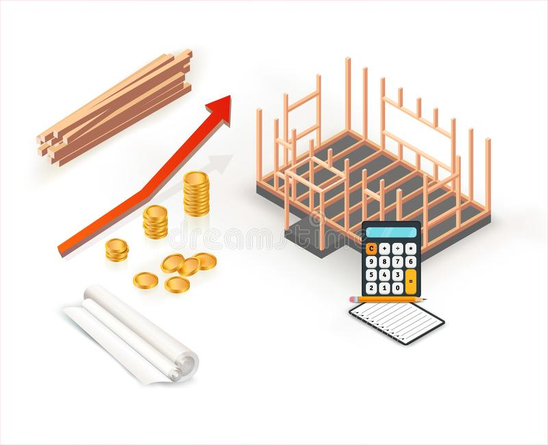 Costruzione della casa di legno di ottimo rendimento Progetto di costruzione amichevole di ecologia con il grafico rosso, il calc royalty illustrazione gratis