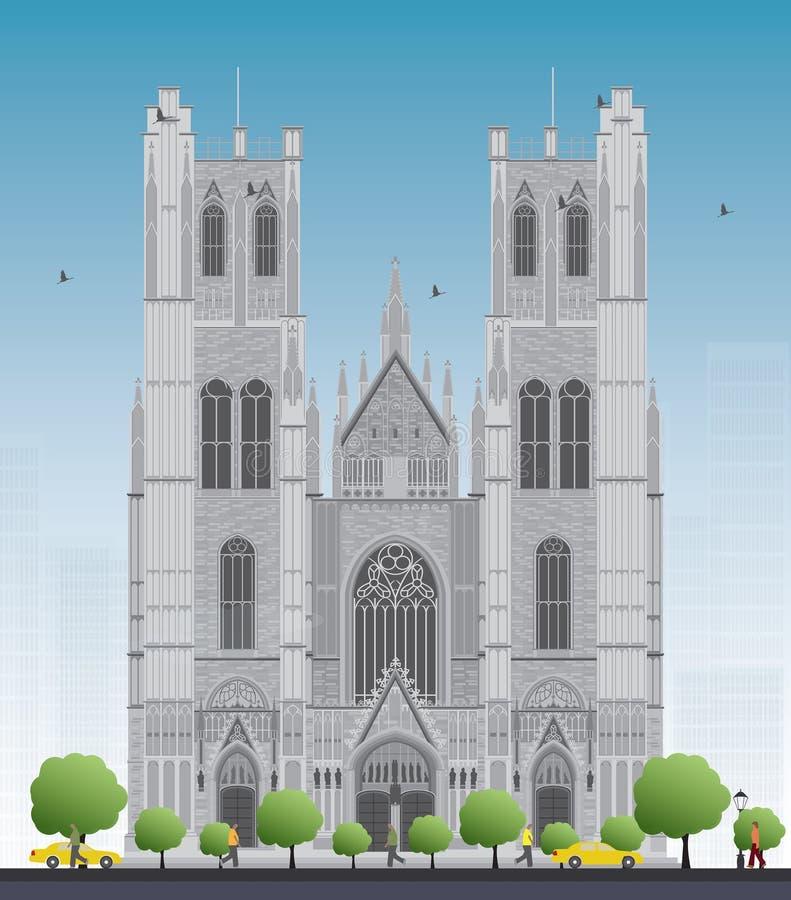 Costruzione della cattedrale di St Michael e della st Gudula nel cen illustrazione vettoriale