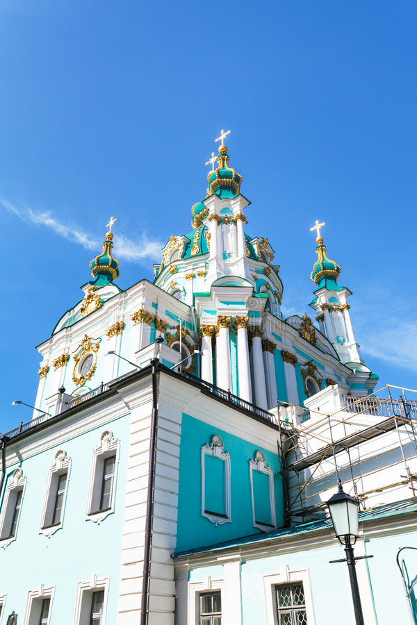 Costruzione della chiesa del ` s di St Andrew nella città di Kiev immagini stock libere da diritti