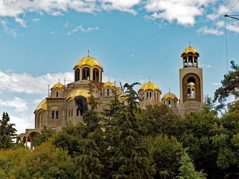 Costruzione della chiesa greco ortodossa, Grecia fotografia stock