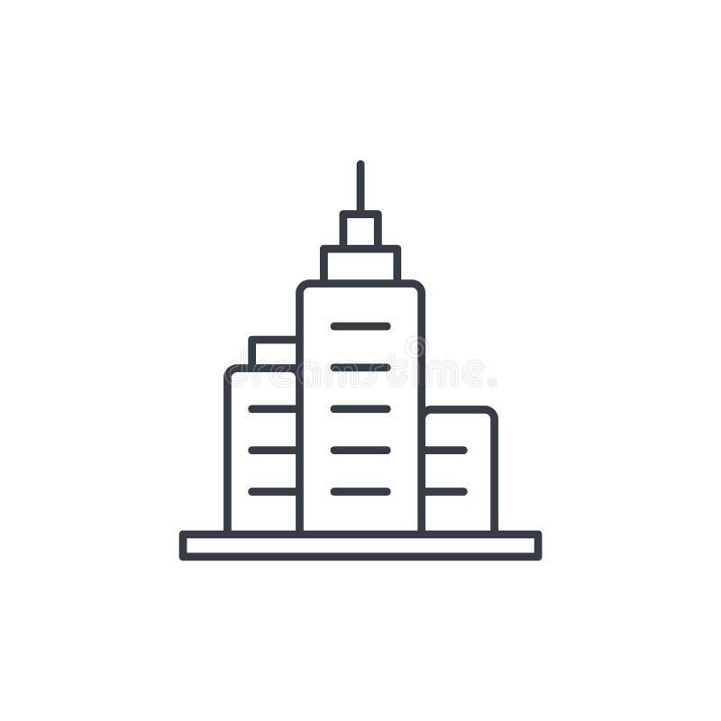 Costruzione della città dell'ufficio, linea sottile icona del grattacielo urbano Simbolo lineare di vettore illustrazione di stock