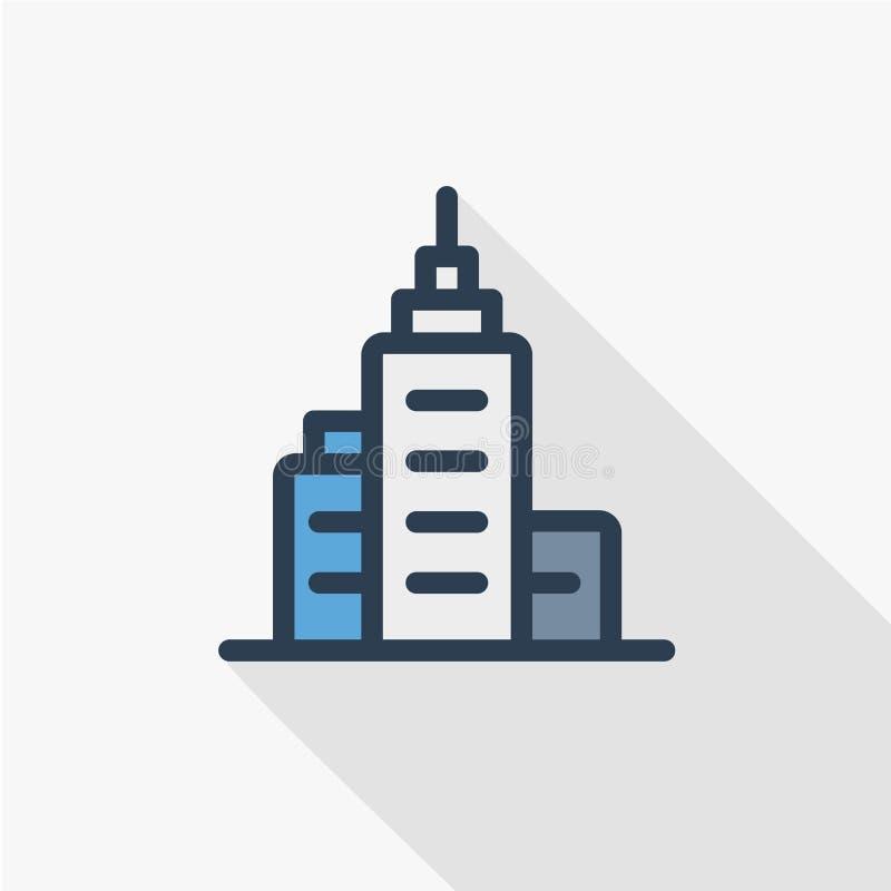 Costruzione della città dell'ufficio, linea sottile icona piana del grattacielo urbano di colore Simbolo lineare di vettore Proge illustrazione vettoriale