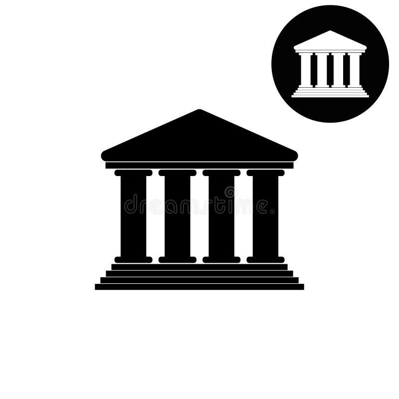 Costruzione della corte - icona bianca di vettore illustrazione vettoriale