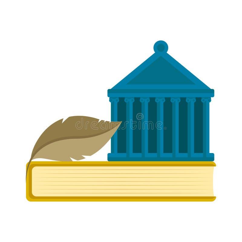 Costruzione della corte sopra un'icona del libro royalty illustrazione gratis