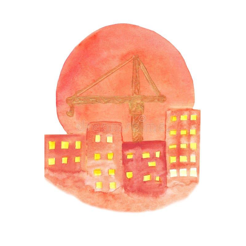 Costruzione della gru di costruzione dell'acquerello nei precedenti del sole Il giorno del costruttore Festa del Lavoro illustrazione vettoriale