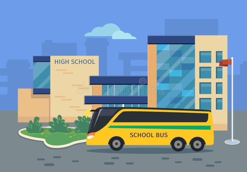 Costruzione della High School con l'illustrazione gialla del bus royalty illustrazione gratis