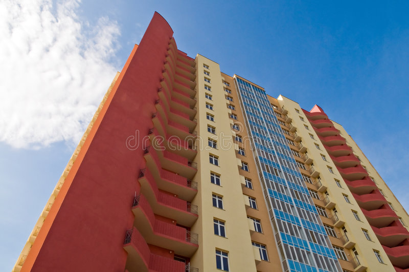 Costruzione della palazzina di appartamenti immagine stock