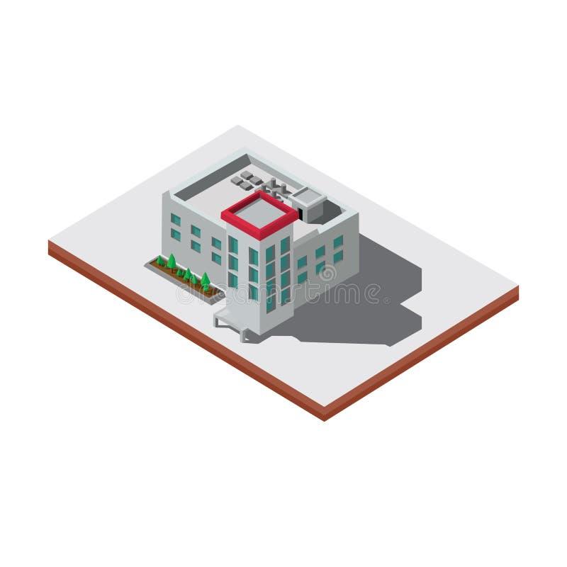 Costruzione della scuola con stile isometrico immagini stock