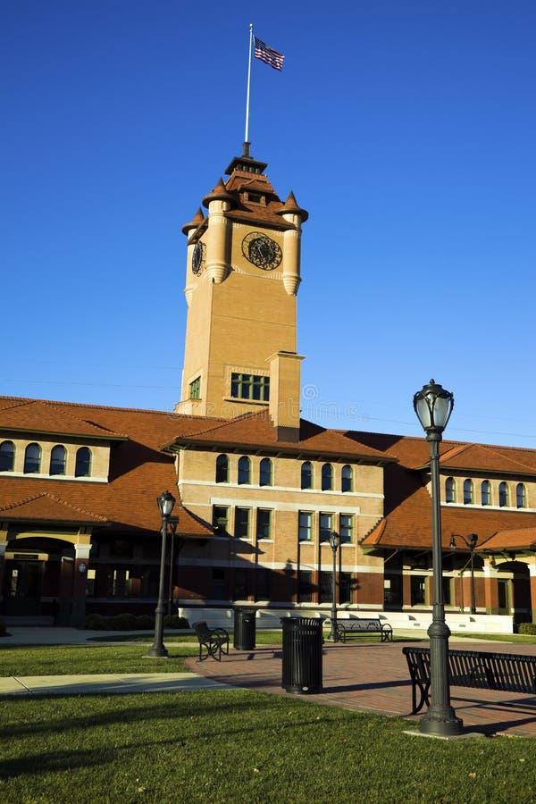 Costruzione della torretta di orologio a Springfield fotografia stock