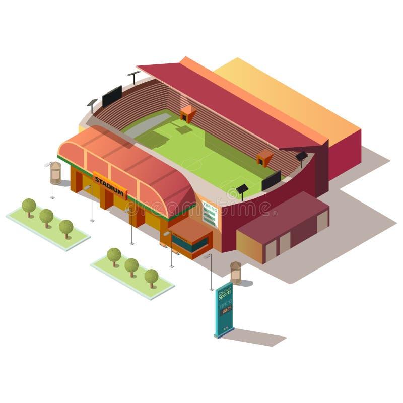 Costruzione dello stadio di calcio con il vettore della biglietteria illustrazione di stock