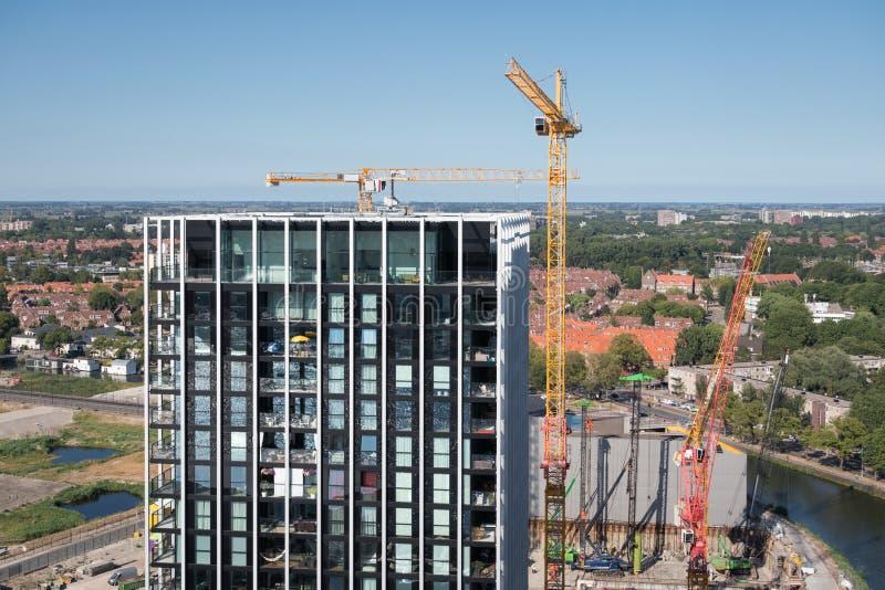 Costruzione di appartamento del cantiere di vista aerea nuova Amsterdam, Paesi Bassi fotografia stock libera da diritti