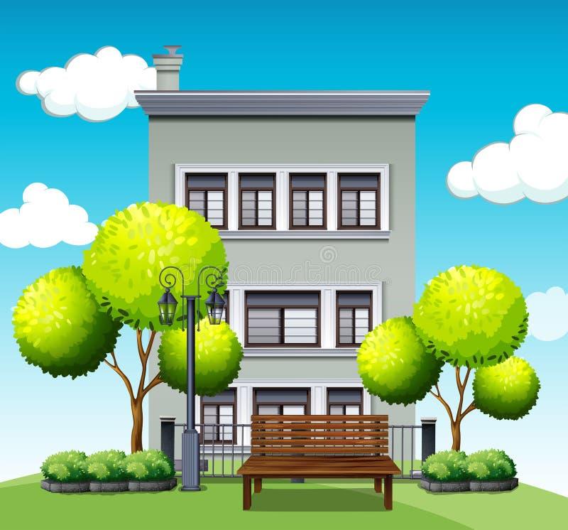 Costruzione di appartamento dietro il parco illustrazione di stock