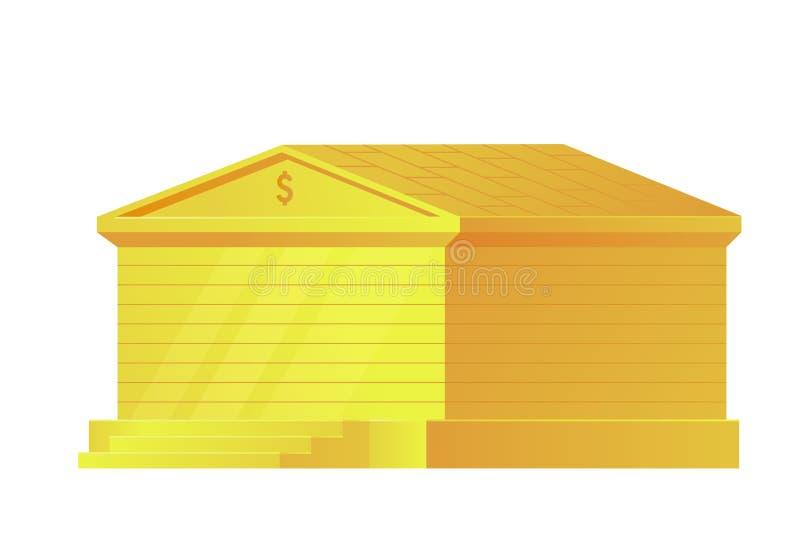 Costruzione di banca dell'oro isolata su fondo bianco Istituzione finanziaria amministrativa dello stato per lo stoccaggio di sol illustrazione vettoriale