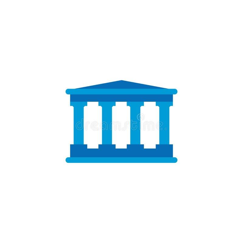 costruzione di banca o della corte, icona di vettore isolata su fondo bianco illustrazione di stock