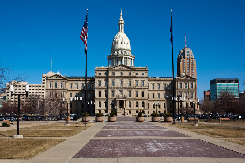 Costruzione di Campidoglio degli stati del Michigan immagine stock libera da diritti
