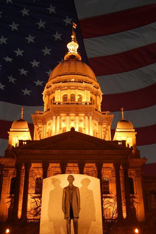 Costruzione di Campidoglio della condizione dell'Illinois immagini stock libere da diritti