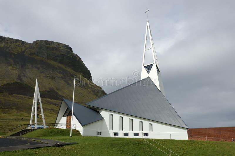 Costruzione di chiesa in Islanda. immagini stock libere da diritti